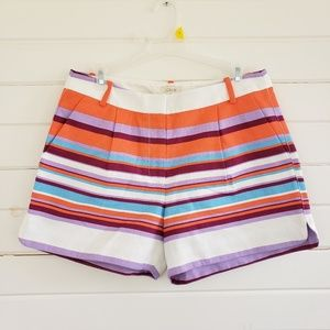 J Crew factory colorful striped pleated shorts